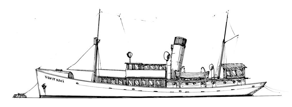 Rıhtımda oynayan çocuklarının görüş alanındaki unutulmaz unsurlardan biri: Hamit Naci okul gemisi (Çizim: Yücel Köyağasıoğlu)