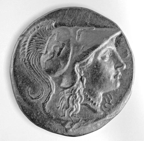 MÖ III. yüzyıldan bir Miletos altın sikkesinde miğferli Athena tasviri