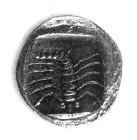 MÖ V. yüzyıldan bir Mylasa (Milas) sikkesinin arka yüzünde kırkayak figürü