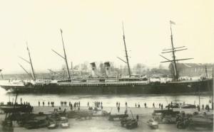 Red Star Denizyolları'nın S/S Westerland gemisi Ren Rıhtımından hareket ediyor. 1885 yılı dolayları. Fotoğraf: MAS koleksiyonundan