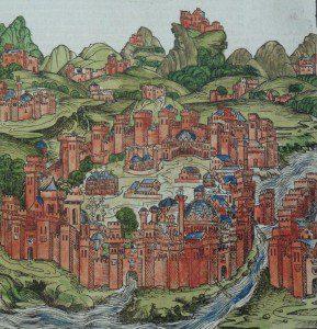 Hartmann Schedel'in 1493 yılınde Nuremberg'te basılan Liber Chronicarum adlı kitabında Tarihi Yarımada ve Galata'nın tasviri (Belçika Kraliyet Kütüphanesi)